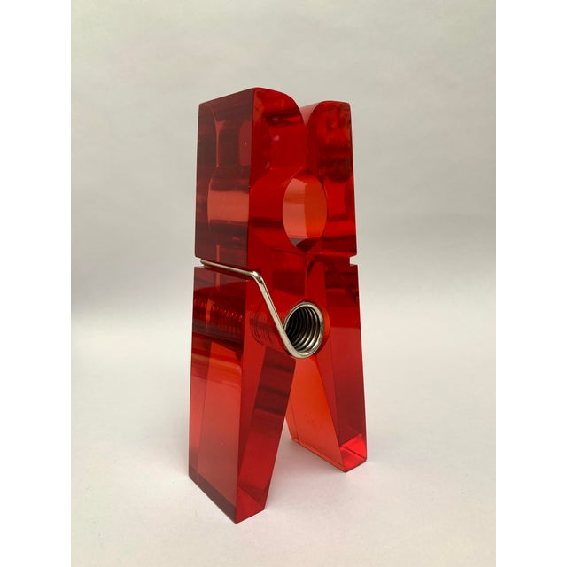 Oversized Red Lucite Clothespin Paperweight or Paper Holder For Sale - Image 13 of 13