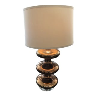 Julian Chichester Lucerne Glass Table Lamp in Bronze Copper Finish and Beige Shade For Sale