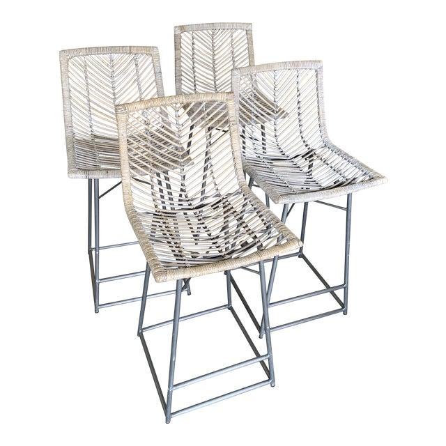 Vintage White Washed Rattan Barstools - Set of 4 For Sale