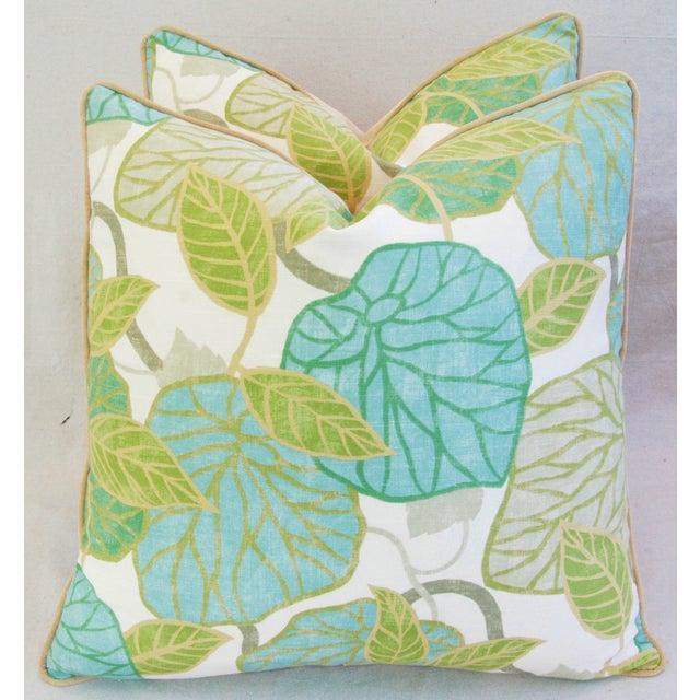 Boho Chic Custom Tailored Atrium Foliage Feather/Down Linen & Velvet Pillows - Pair For Sale - Image 3 of 11