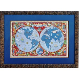 "Large Framed 1952 Lucien Boucher ""Air France"" World Map Framed Poster Planisphere For Sale"