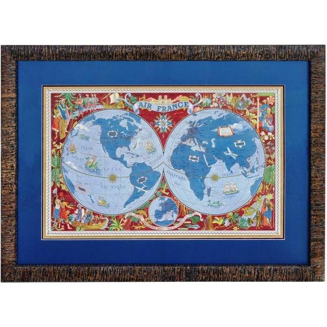 "Large Framed 1952 Lucien Boucher ""Air France"" World Map Framed Poster Planisphere For Sale"
