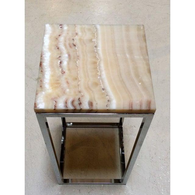 Milo Baughman Chrome & Marble Pedestal - Image 4 of 7