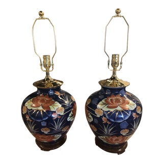 Vintage Chinoiserie Navy Blue & Orange Lotus Flowers Brass Pagoda Table Lamps -A Pair For Sale