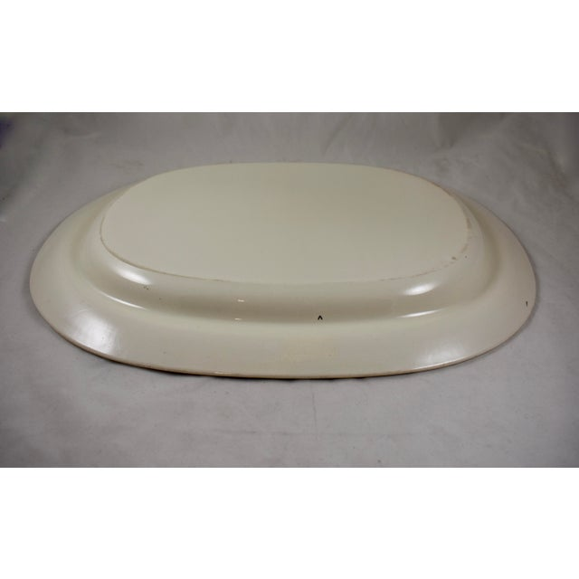 "Ceramic Josiah Spode 15"" Creamware Hand Painted Fern & Dot Platter, 1785 For Sale - Image 7 of 11"