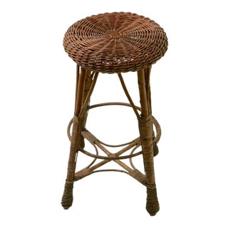 Counter Height Wicker Stool For Sale