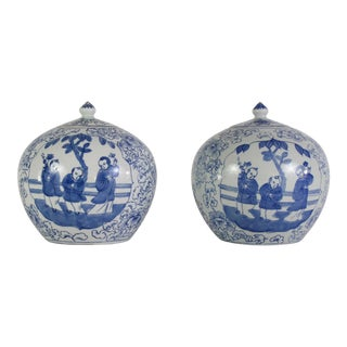 Chinoiserie Blue and White Ginger Jars - a Pair