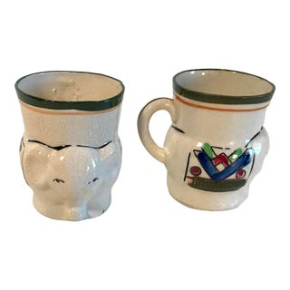 Vintage Japanese Hand Painted Figural Elephant Mugs - a Pair For Sale