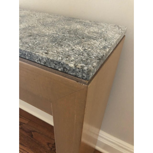 Contemporary Long & Narrow Sleek Birch and Marble Console Table For Sale - Image 9 of 13