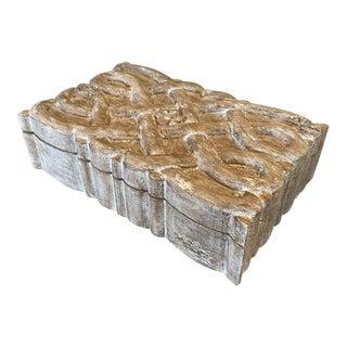 Large Carved Vintage Wood Box For Sale