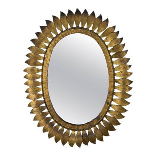 Spanish Oval Gilt Sunburst Mirror For Sale