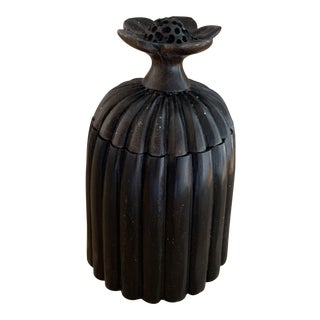 Black Fluted Ebony Domed Box With Flower For Sale