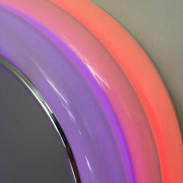 Acrylic Sottsass Style Round Neon Wall Mirror & Light For Sale - Image 7 of 8