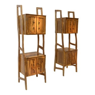 Pair of Outstanding 1960s Solid Olive Wood Cabinets