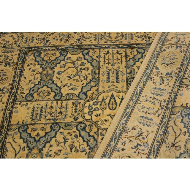 Semi Antique Istanbul Gaye Tan/Teal Turkish Hand-Knotted Rug -4'8 X 7'0 For Sale In New York - Image 6 of 8