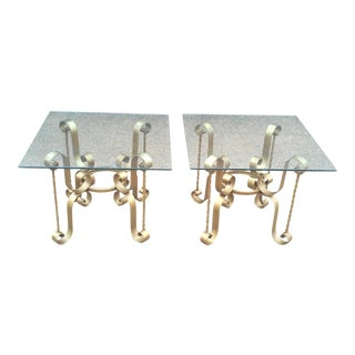 French Gilt Iron End Tables-A Pair For Sale