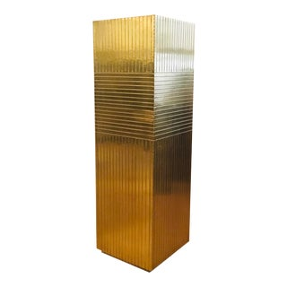 Currey & Co. Modern Brass Foil Odense Pedestal For Sale