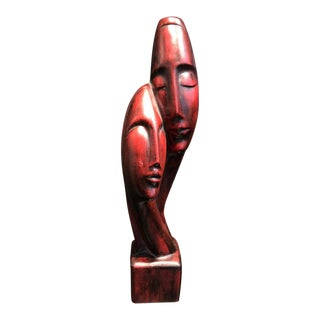 1960s Mid-Century Eames Era Abstract Man/Woman Busts Carving Teak Sculpture For Sale