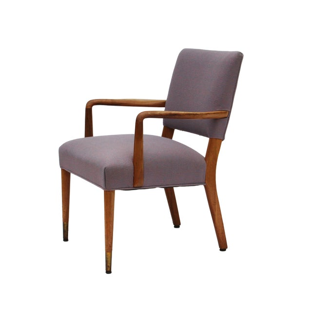 Fabric Mid-Century Sculpted Walnut Frame Armchair by Stow & Davis For Sale - Image 7 of 10