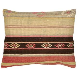 "1960s Turkish Kilim Pillow 18"" X 22"" For Sale"