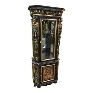 Unique Vintage Egytian Detailed Curio Cabinet