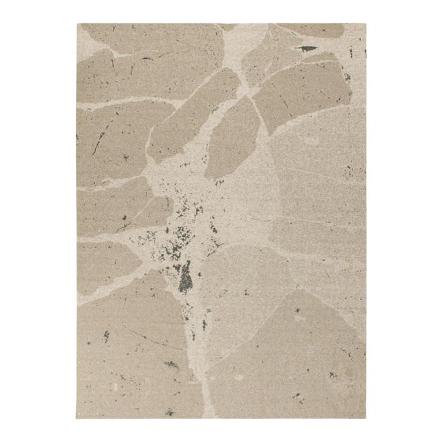 Solo Rugs Grit and Ground Collection Contemporary Organic Cracks Flatweave Hand-Knotted Flatweave Area Rug, Beige , 8' X 10' For Sale