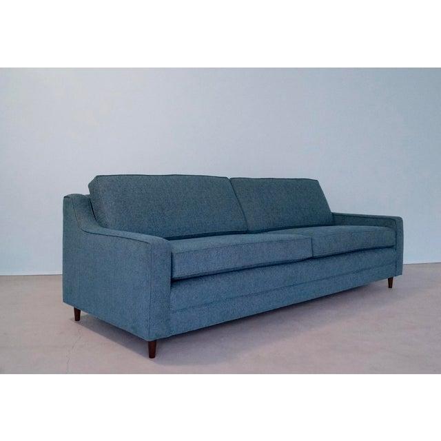 Original Mid-Century Modern Reupholstered Tweed Sofa - Image 3 of 11