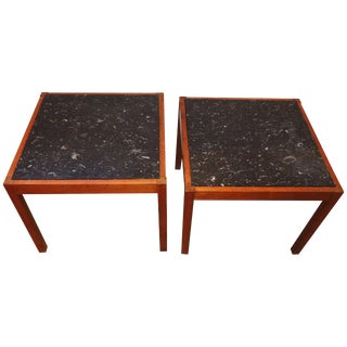 1950s Mid-Century Modern Teak and Belgian Black Limestone Side Tables - a Pair For Sale