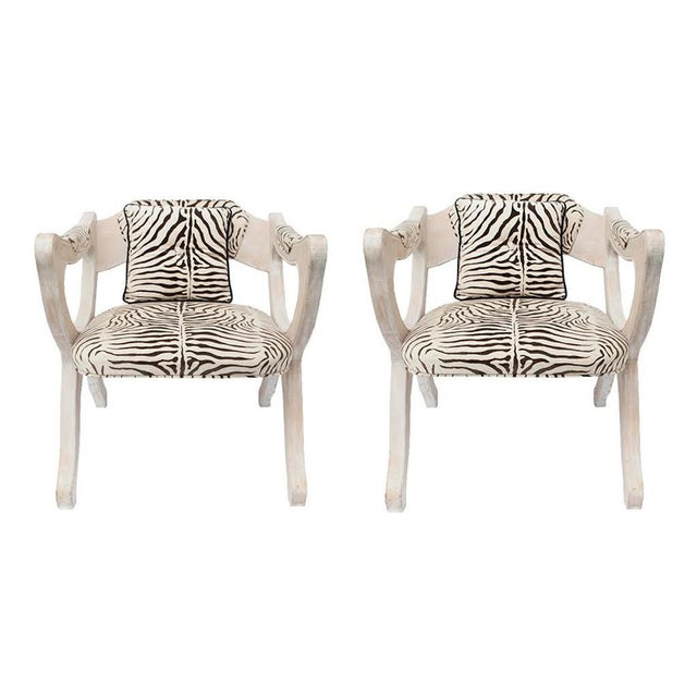 Wood Pair of Hollywood Regency Low-Slung Chairs For Sale - Image 7 of 7