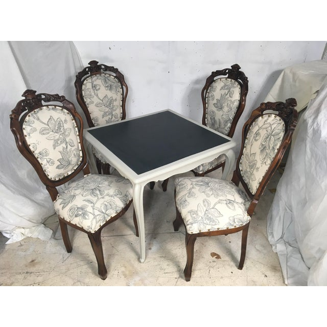Antique French Game Table and Chairs - Set of 5 - Image 6 of 9
