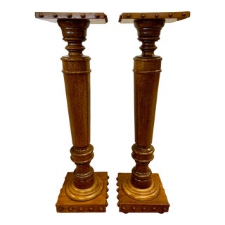 Tall Carved Wood Pedestal Stands - A Pair For Sale