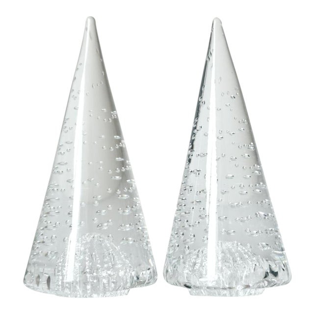 1980s Vintage Cenedese Italian Crystal Murano Art Glass Obelisks Sculptures - a Pair For Sale