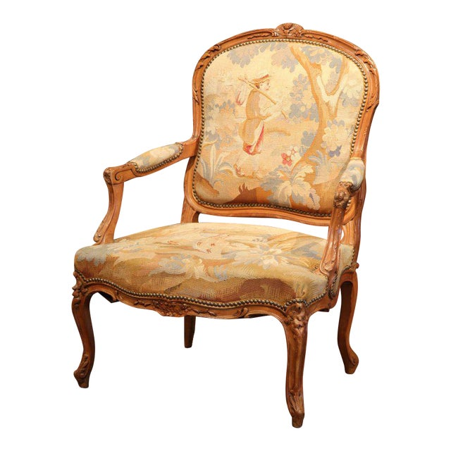 19th Century French Louis XV Carved Walnut Armchair With Aubusson Tapestry For Sale - Image 11 of 11