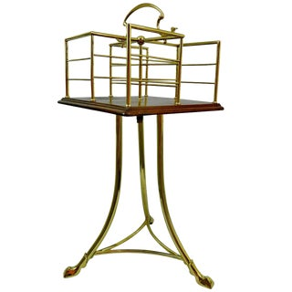 19th Century English Revolving Mahogany and Brass Book Stand or Side Table For Sale