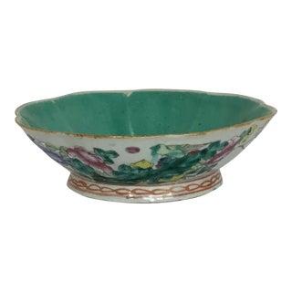 Antique Chinese Floral Lotus Porcelain Serving Bowl For Sale