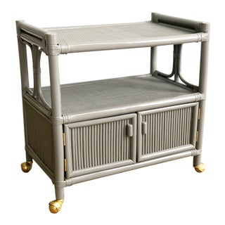 Vintage Gray Rattan Bar Cart