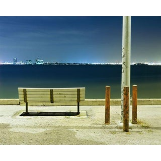 "Contemporary Night Photograph ""Bench and Poles"" by John Vias For Sale"