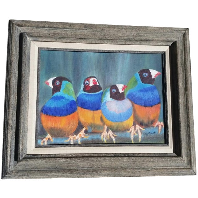 Original Oil Painting of Finches - Image 1 of 4