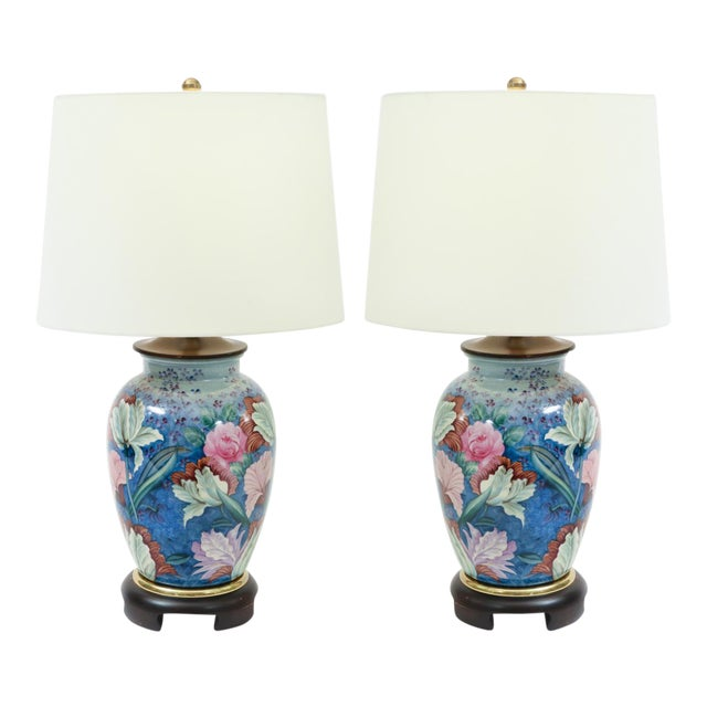 Floral Porcelain With Mahogany Wood Base Table Lamps - a Pair For Sale