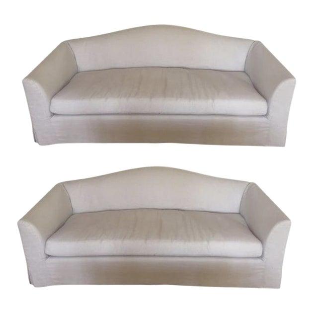 Restoration Hardware Belgian Linen Sofas - A Pair - Image 1 of 5