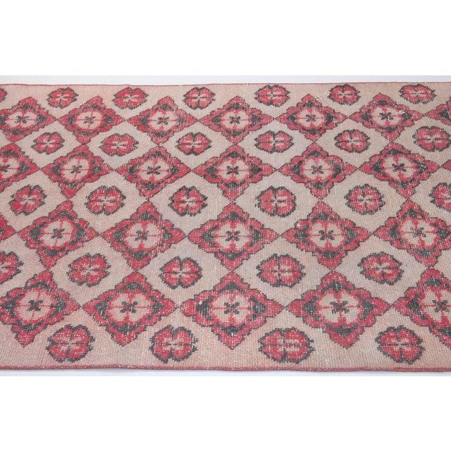 1960s Vintage Decorative Turkish Area Rug - 3′10″ × 6′11″ For Sale - Image 4 of 6
