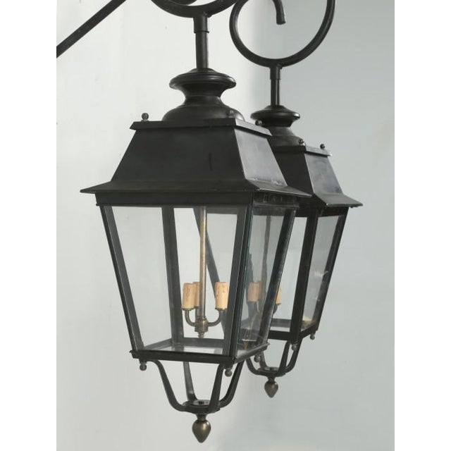 Mid 20th Century Vintage French Lanterns With Wavy Glass - a Pair For Sale - Image 5 of 11