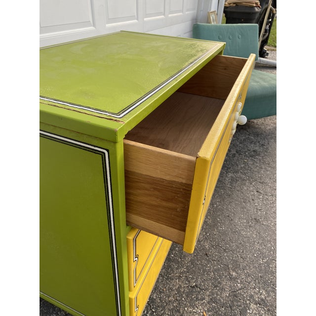 Wood Mid 20th Century Drexel Peter Max Inspired Small Dresser For Sale - Image 7 of 12