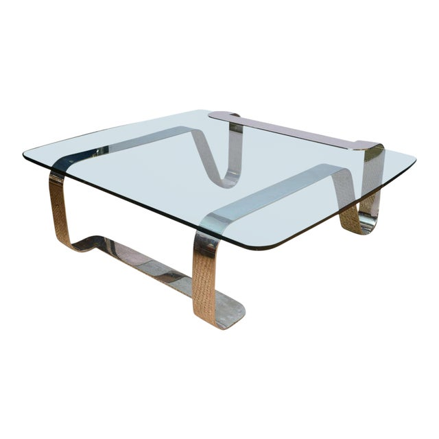 """Rare and Sculptural Gary Gutterman """"Odyssey"""" Coffee Table in Polished Steel For Sale"""