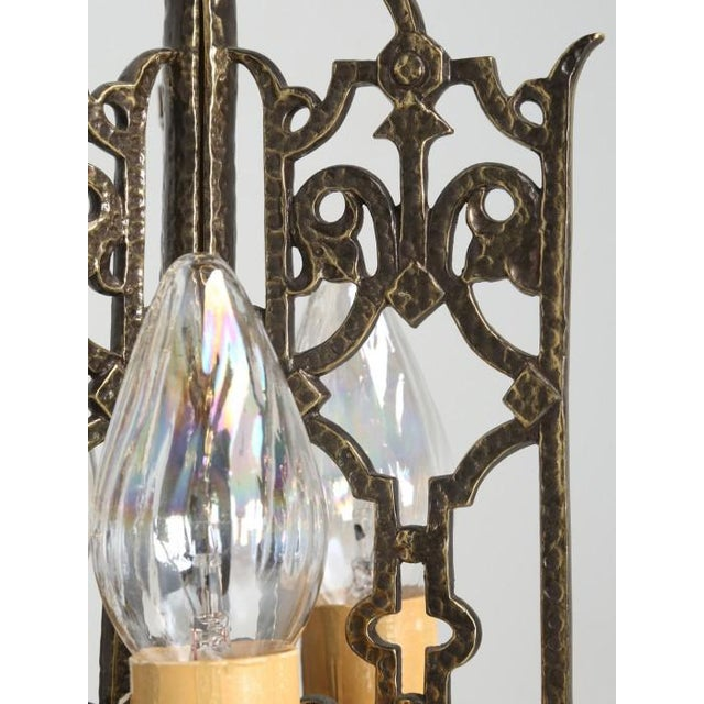 American Solid Brass Chandelier Circa 1908 For Sale - Image 9 of 12