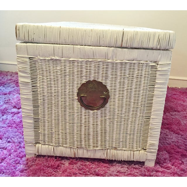 Vintage White Wicker Trunk With Brass Hardware - Image 5 of 5