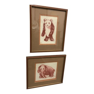 Conte Crayon Drawings - A Pair For Sale