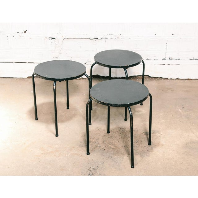 Black Set of 3 Stacking Stools / Side Tables For Sale - Image 8 of 8