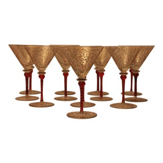 Hand Painted Glass Martini Glasses - Set of 12