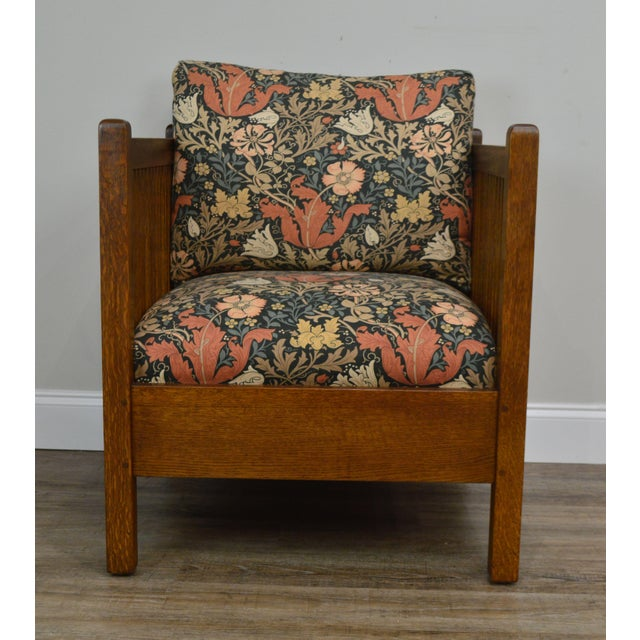 Stickley Mission Collection Oak Spindle Cube Chair For Sale - Image 10 of 13